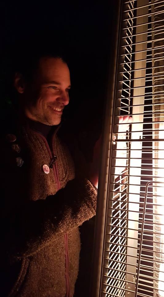 Alex at a heater