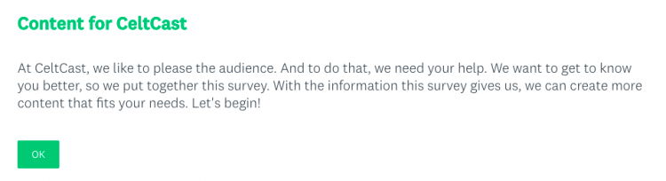 The beginning of the survey